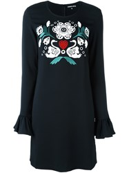 Markus Lupfer Embroidered Front Dress Black