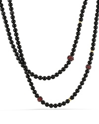 David Yurman Necklace With Black Onyx Garnet And 18K Gold