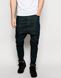 Asos Drop Crotch Jeans With Green Tint Green Black