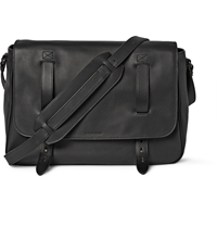 Tomas Maier Matte Leather Messenger Bag Black