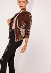Missguided Velvet Bomber Jacket Brown Bronze