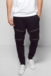 Boohoo Fit Biker Joggers With Rips And Zips Black