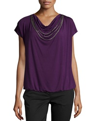 Laundry By Shelli Segal Short Sleeve Jersey Knit Necklace Tee Blackberry
