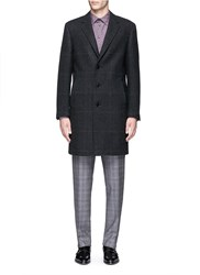 Canali Glen Plaid Wool Coat Grey