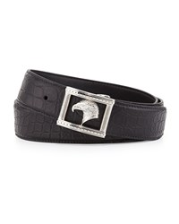 Stefano Ricci Eagle Head Crocodile Belt Black