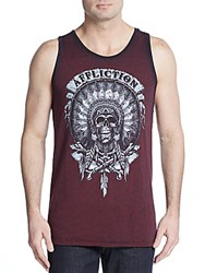 Affliction Wild Buffalo Graphic Tank Red