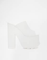 Y R U Yru Dream Platform Mule Heeled Sandals White