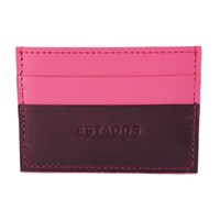 Estados Luxury Leather Card Holder Deep Purple And Pink