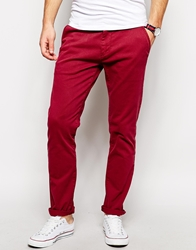 Solid Solid Skinny Fit Chino Burgundy
