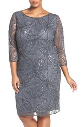 Pisarro Nights Plus Size Women's 'Circle Motif' Embellished Cocktail Dress