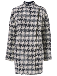 Phase Eight Yasmine Dogtooth Coat Navy Ivory