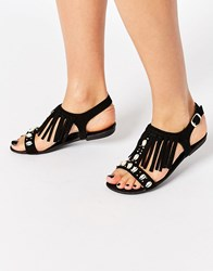 New Look Fringe Jewelled Flat Sandals Black