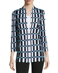 Ming Wang Check Print Knit Jacket Bii