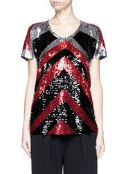Lanvin Sequin Chevron Jersey T Shirt Metallic Multi Colour