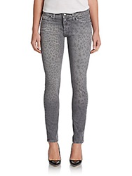 Current Elliott Animal Print Ankle Skinny Jeans Grey Leopard