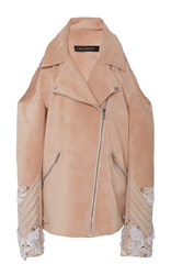 Sally Lapointe Suede Embroidered Cold Shoulder Moto Jacket Pink