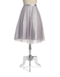 Marina Mesh And Chiffon A Line Skirt Silver