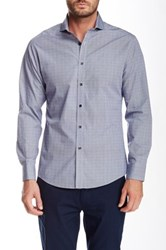 Vince Camuto Long Sleeve Dobby Gingham Slim Fit Shirt Blue