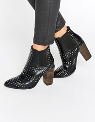 Glamorous Stud Point Heeled Ankle Boots Black