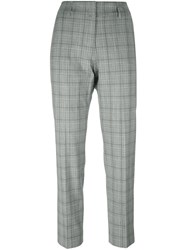 Piazza Sempione Checked Straight Trousers Grey