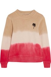 The Elder Statesman Degrade Intarsia Cashmere Sweater Papaya