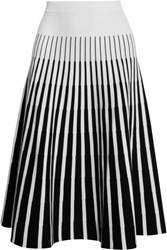 Tomas Maier Striped Jersey Skirt White