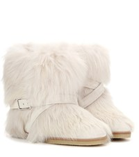 Gianvito Rossi Cortina Fur Concealed Wedge Ankle Boots Beige