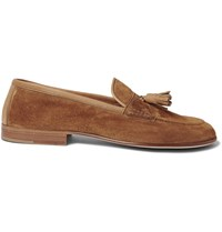 Edward Green Portland Tasselled Leather Trimmed Suede Loafers Brown