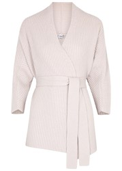 Armani Collezioni Blush Ribbed Belted Wool Blend Cardigan Beige
