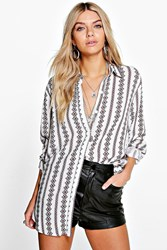 Boohoo Printed Oversized Shirt White