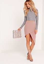 Missguided Slanted Wrap Skirt Pink Red