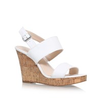 Nine West Lucini High Heel Wedge Sandals White