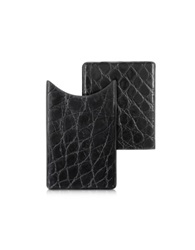 Peroni Crocodile Embossed Leather Card Case Black