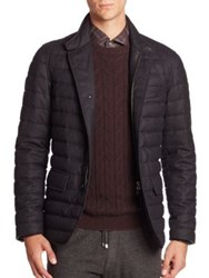 Ermenegildo Zegna Quilted Wool Puffer Jacket Dark Grey
