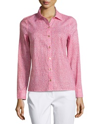 Laundry By Shelli Segal Geo Print Golden Button Blouse Hibiscus Multi