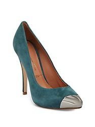 Sigerson Morrison Log Suede Cap Toe Pumps Emerald