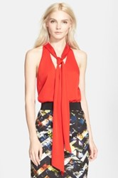 Milly Scarf Detail Stretch Silk Halter Top Red