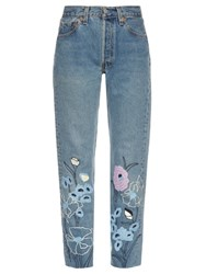 Bliss And Mischief Wild Flower Embroidered Cropped Jeans Denim