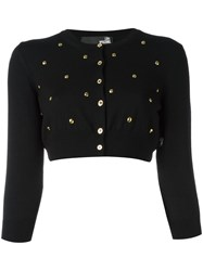 Love Moschino Studded Cropped Cardigan Black