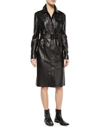 Tomas Maier Rainproof Leather Long Trenchcoat