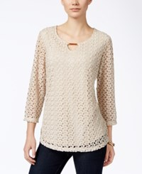 Jm Collection Petite Crocheted Keyhole Blouse Only At Macy's Stone