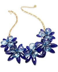 Kate Spade New York Gold Tone Blooming Brilliant Flower Statement Necklace Blue Multi