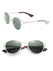 Christian Dior 52Mm Rounded Cateye Aluminum Sunglasses Green Silver Blue