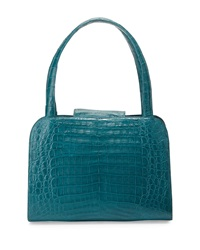 Nancy Gonzalez Rounded Crocodile Satchel Bag Teal
