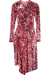 Preen By Thornton Bregazzi Carlin Asymmetric Sequined Tulle Midi Dress Pink