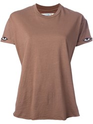 Sandrine Rose Eye Embroidery T Shirt Brown