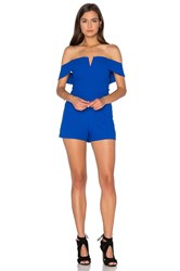 J.O.A. Off The Shoulder Romper Blue
