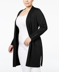 Jm Collection Plus Size Open Front Duster Cardigan Only At Macy's Deep Black