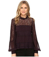 Nanette Lepore Jezebel Blouse Wine Women's Blouse Burgundy