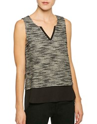 Sanctuary Split V Neck Sleeveless Top Grey